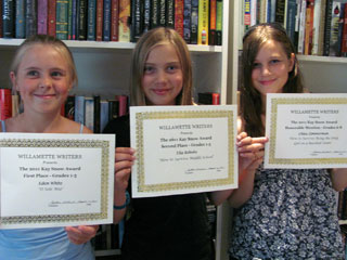 Three winners this year from the Kay Snow Writing Contest